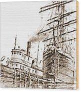 Tall Ship Assist Sepia Wood Print