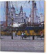 Tall Ship At Albert Dock Wood Print