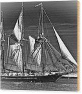 Tall Ship Bw Wood Print