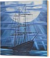 Tall Ship By Moonlight Wood Print