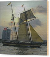 Tall Ship Chasing The Sun Wood Print