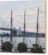 Tall Ship Gazela At Penns Landing Wood Print by Bill Cannon