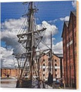 Tall Ship In Gloucester Docks Wood Print