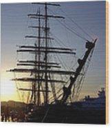 Tall Ship In Ibiza Town Wood Print