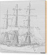 Tall Ship In Lead Wood Print