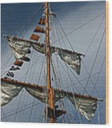 Tall Ship Mast Wood Print by Suzanne Gaff