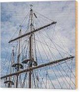 Tall Ship Masts Wood Print