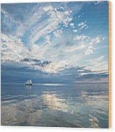 Tall Ship On The Big Lake Wood Print