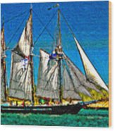 Tall Ship Paint  Wood Print