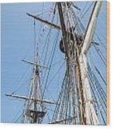 Tall Ship Rigging Wood Print