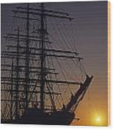 Tall Ship Silhouetted Wood Print
