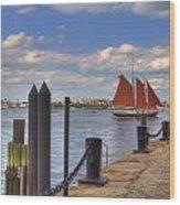 Tall Ship The Roseway In Boston Harbor Wood Print by Joann Vitali