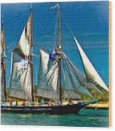Tall Ship Vignette Wood Print