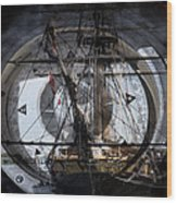 Tall Ship With Compass 2013 Wood Print