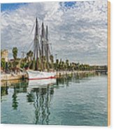 Tall Ships And Palm Trees - Impressions Of Barcelona Wood Print