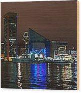 Tall Ships At Night Pano 2 Wood Print