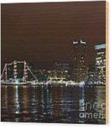 Tall Ships At Night Panorama Set Panel 1 Wood Print
