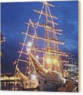 Tall Ships At Night Time Wood Print by Joe Cashin