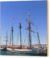 Tall Ships Big Bay Wood Print