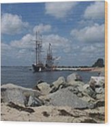Tall Ships In The Distance Wood Print