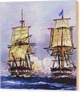 Tall Ships Uss Essex Captures Hms Alert  Wood Print