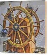 Tall Ships Wheel Wood Print