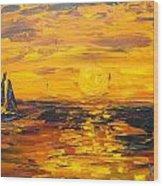 Tamarindo Sailboat Sunset Wood Print
