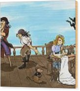 Tammy And The Pirates Wood Print