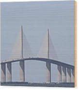 Tampa Sky Way Bridge Wood Print