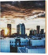 Tampa Skyline At Sunset Hdr 1 Wood Print