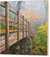 Tanawha Trail Foot Bridge - Rough Ridge Autumn Foliage Nc Wood Print