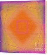 Tangerine And Orange Squares Wood Print