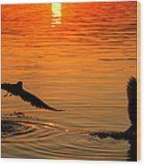 Tangerine Moonlight Wood Print by Karen Wiles