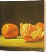 Tangerines Wood Print by Ann Simons