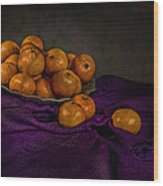 Tangerines In A Shell Platter Wood Print by Leah McDaniel