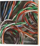 Tangle Of Colorful Wires Wood Print