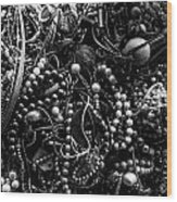 Tangled Baubles - Bw Wood Print