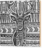 Tangled Deer Wood Print