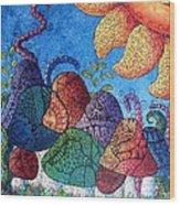 Tangled Mushrooms Wood Print