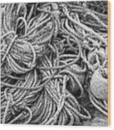 Tangled Rope And Lobster Fishing Gear On Dock Maine Wood Print
