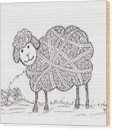 Tangled Sheep Wood Print