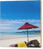 Tanning Beds On A Tropical Beach Koh Samui Thailand Wood Print