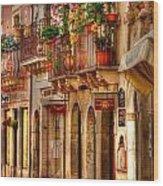 Taormina Balcony Wood Print