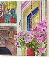 Taormina- Hanging Petunias Wood Print