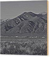 Taos In Black And White II Wood Print