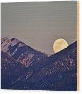 Taos Moonrise Wood Print