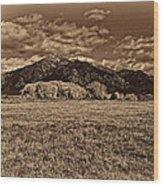 Taos Mountain In Platinum  Wood Print
