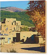 Taos Pueblo South In Autumn Wood Print
