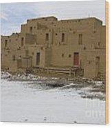 Taos Pueblo With Snow Wood Print