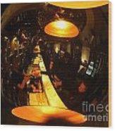 Tapas Bar Reflection Wood Print